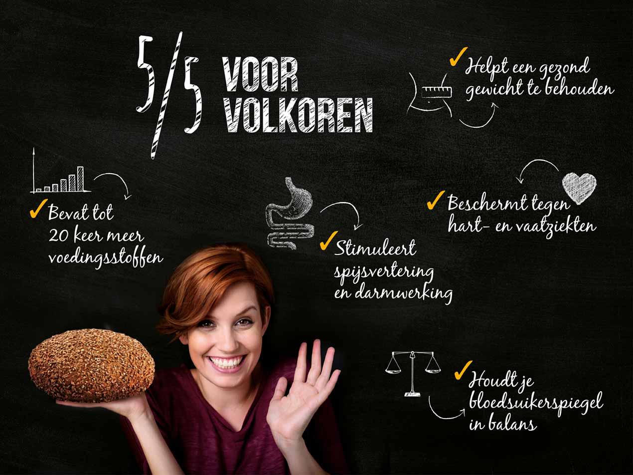 Beeld met 5 voordelen van volkorenbrood